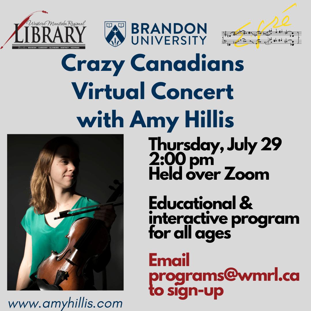 Crazy Canadians Virtual Concert with Amy Hillis